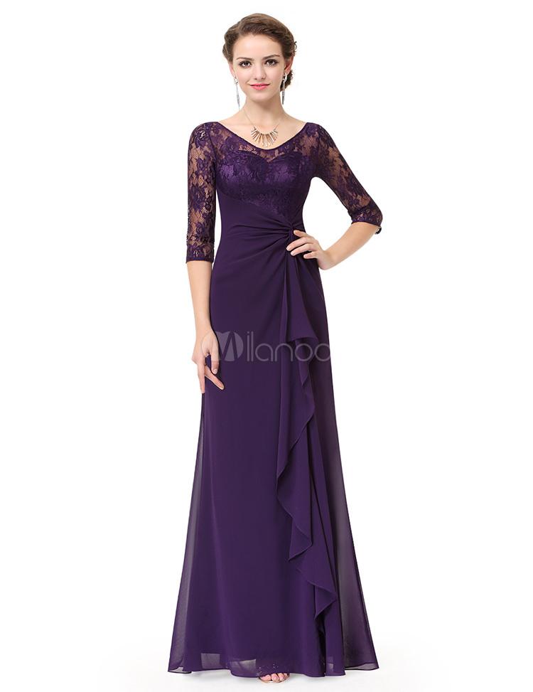 2b557e1fc Vestido de Mãe da noiva ameixa sem costas em cascata do Chiffon plissado  renda A linha ...