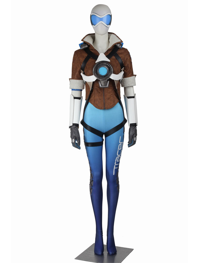 Overwatch Tracer Lena Oxton Blue Version Halloween Cosplay Costume Halloween