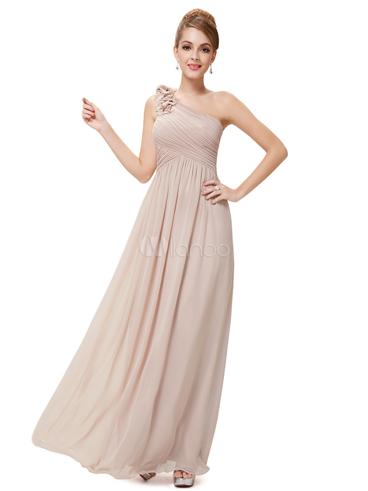 Long Bridesmaid Dress Chiffon Champagne One Shoulder Flower A Line Draping Wedding Party Dress