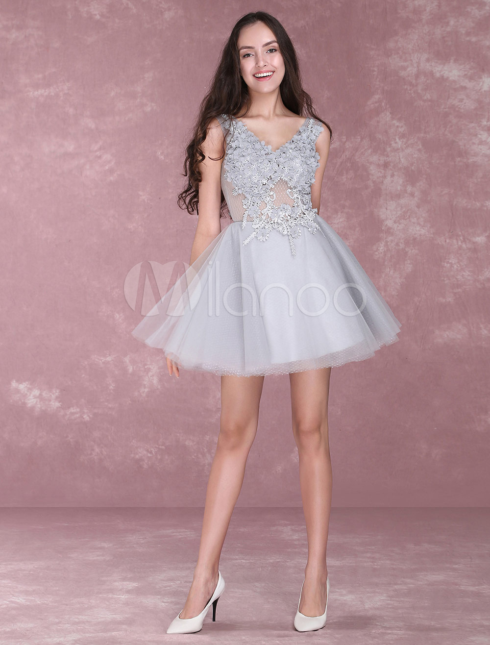 7b74fa8949 Light Grey Homecoming Dresses Lace Flowers Short Prom Dresses V Neck ...