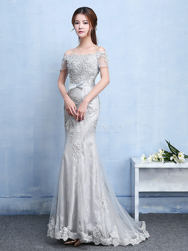 Buy Lace Evening Dress Silver Mermaid Party Dress Off The Shoulder Applique Beading Short Sleeve Bow Sash Occasion Dress With Train for $131.99 in Milanoo store