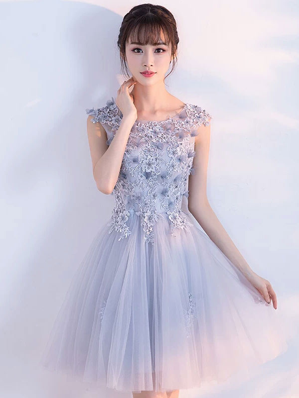 3d36720fed26 Tulle Homecoming Dress Lace Applique Light Grey Short Prom Dresses  2019-No.1 ...