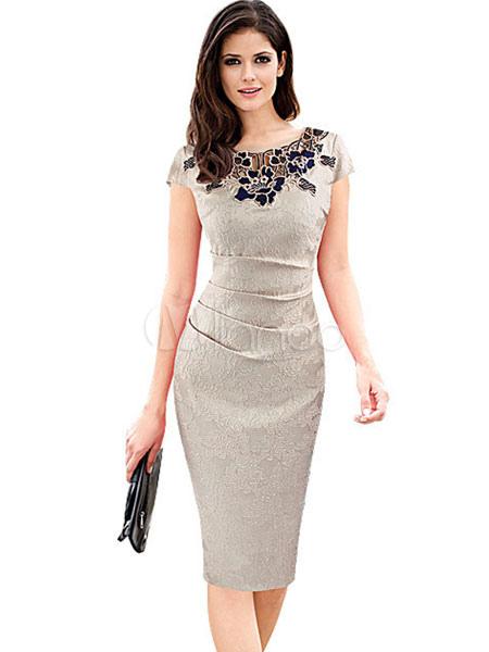 Women's Bodycon Dress Deep Blue Applique Short Sleeve Shaping Sheath Dress