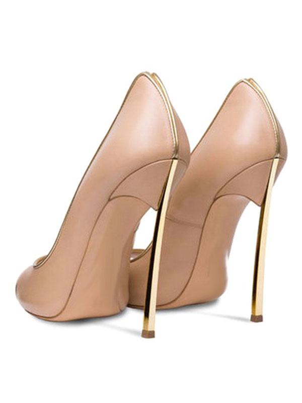 7da987e36f1 ... Zapatos Peep toe de cuero auténtico estilo moderno de color-blocking de  tacón de stiletto ...