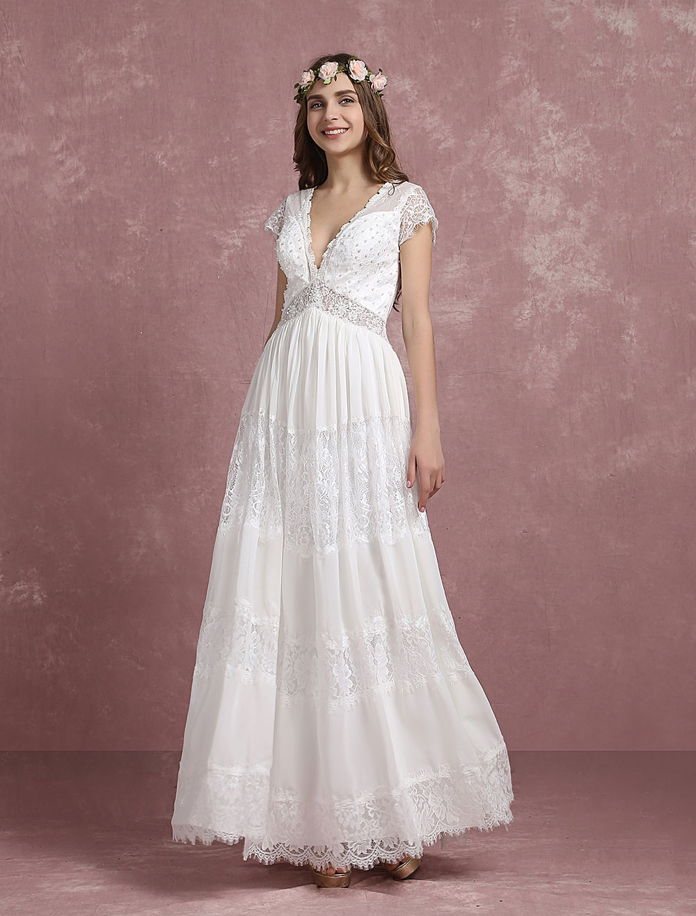 Summer Wedding Dresses 2018 Boho Beach Bridal Gown Lace Beading Chiffon Deep V Neck Cap Sleeve A Line Illusion Back Ankle Length Bridal Dress