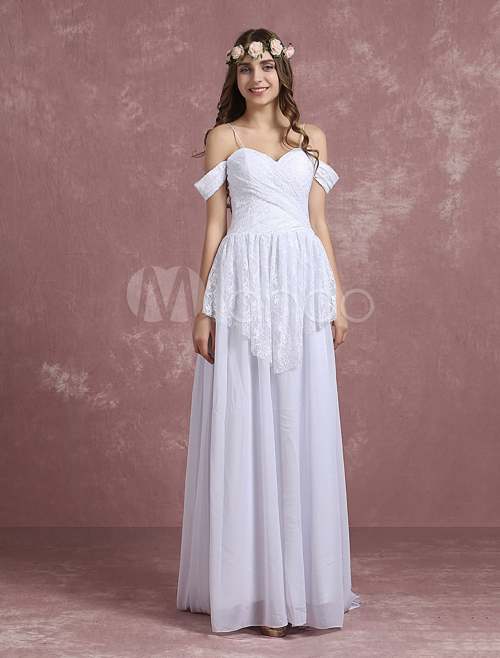 f7c6b6cfb12 ... Lace Chiffon Bridal Gown Off The Shoulder Sweetheart Spaghetti Straps.  12. 45%OFF. Color White