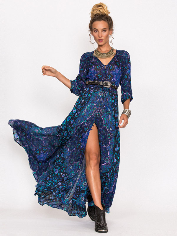 Boho Dress Full Sleeve Maxi Dress Floral Print V Neck High