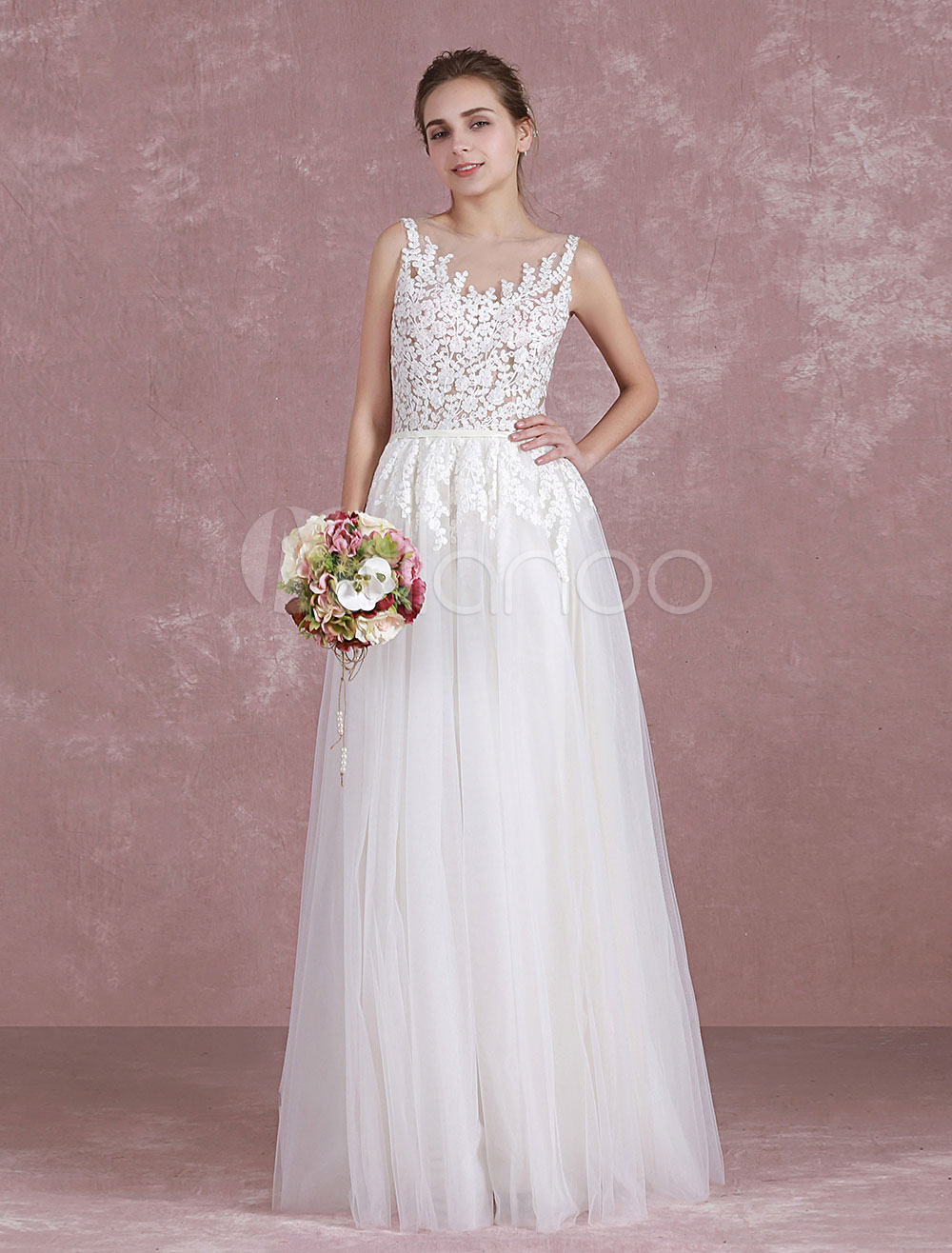 Buy Summer Wedding Dresses 2018 Boho Beach Bridal Dress Illusion Lace Applique Tulle Sleeveless A Line Sash Floor Length Bridal Gown Milanoo for $152.99 in Milanoo store