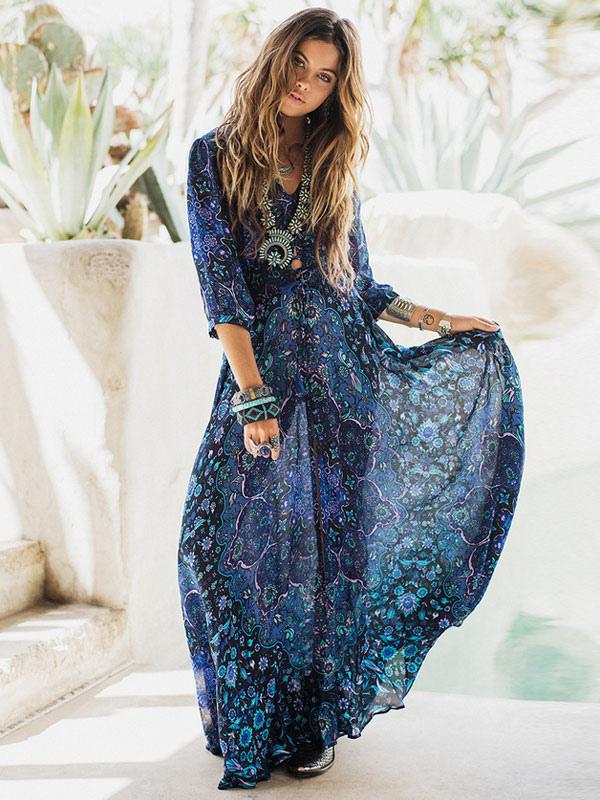 Boho Dress Full Sleeve Maxi Dress Floral Print V-neck High Split Chiffon Long Dress
