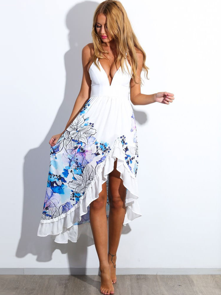 White Summer Dress With Floral Print High-Low Mullet Dress With Straps for Women