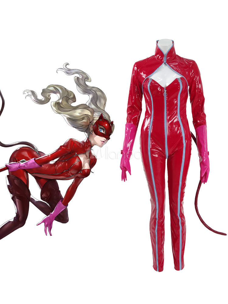 Persona 5 Anne Takamaki Cosplay Costume Red Catsuit Halloween