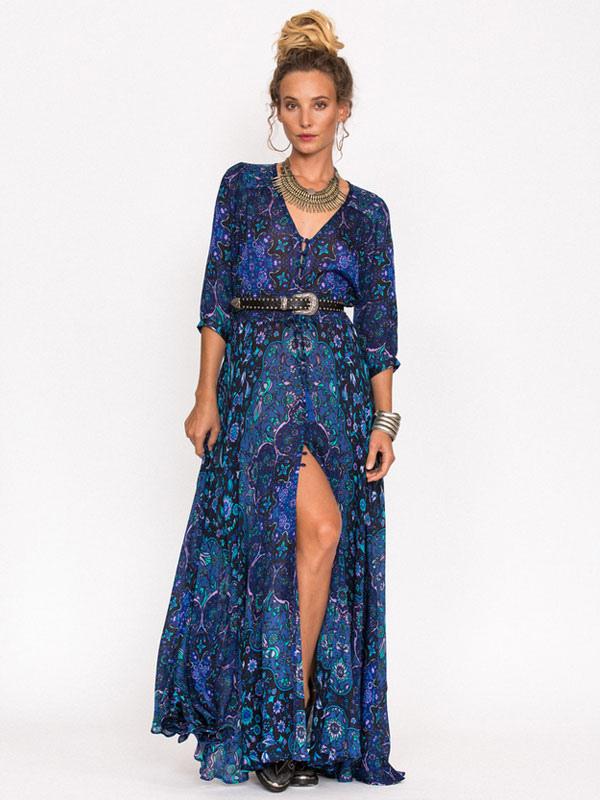a07cb45f27f7f ... Boho Maxi Dress Long Sleeve Floral Print V Neck High Split Chiffon Long  Dress-No