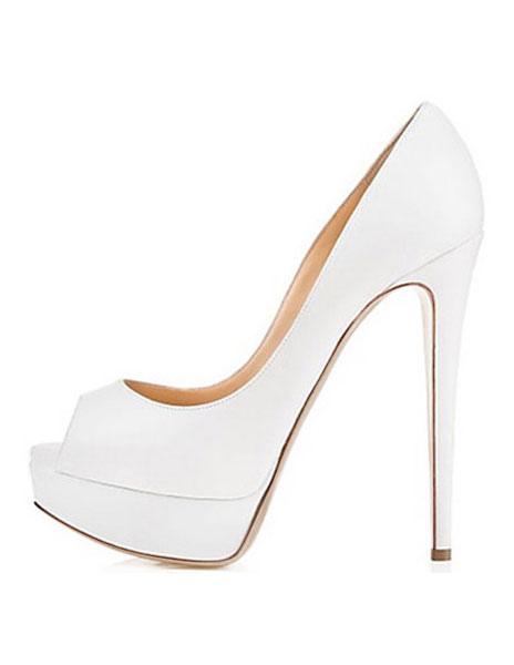 Zapatos peep toe Charol PU blanco de estilo moderno TKKBDf