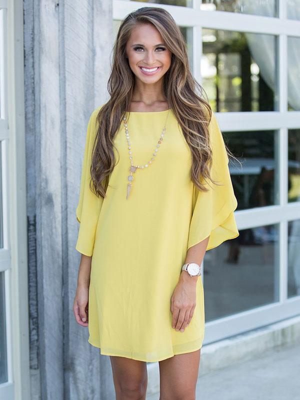 auf Füßen Bilder von echte Qualität Räumungspreise Gelbe Shift Tunikakleider 2019 für Damen Chiffon Juwel Hals zerzauste  Halbarm überdimensioniert Sommerkleid