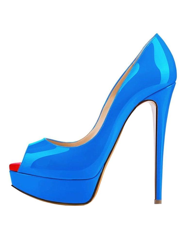 Zapatos peep toe Charol PU blanco de estilo moderno FvYLmC2lcY