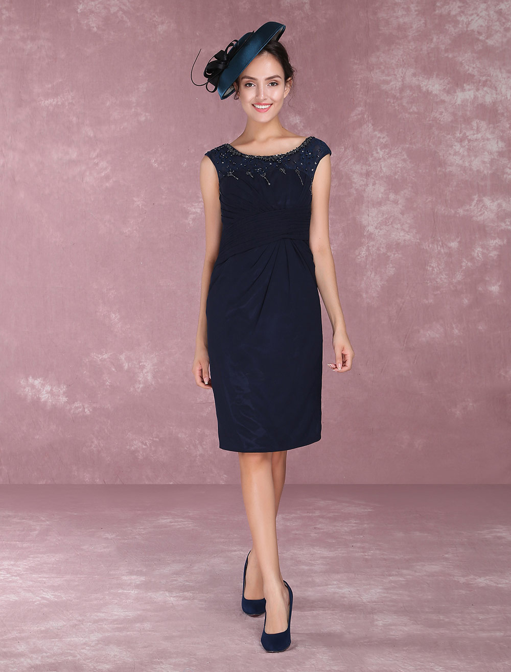 Dark Navy Mother Of The Bride Dresses Chiffon Cocktail Dress Beading Sheath Knee Length Wedding Guest Dresses