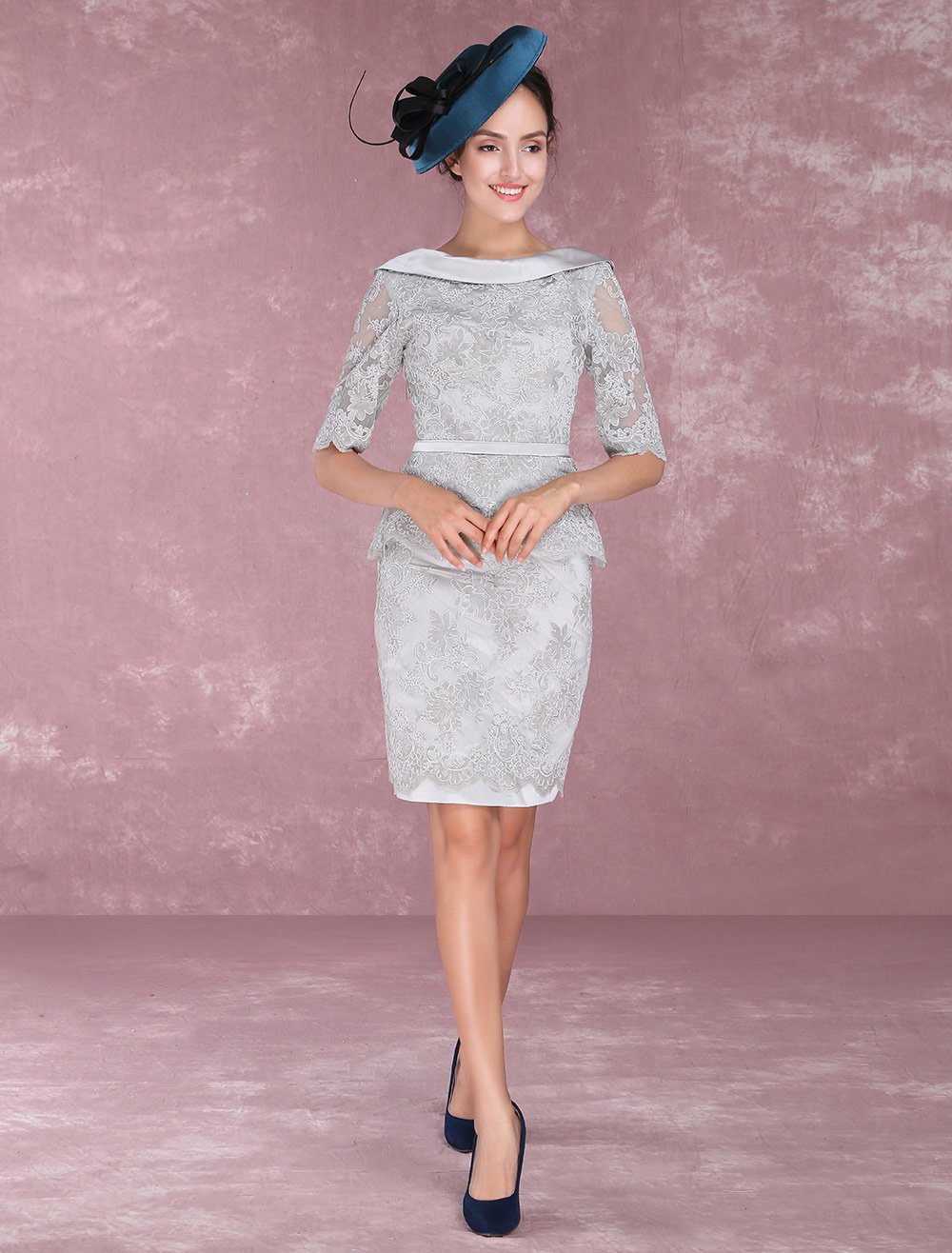 Buy Mother Of The Bride Dresses Lace Sheath Peplum Cocktail Dresses Half Sleeve V Back Knee Length Wedding Guest Dresses for $144.89 in Milanoo store