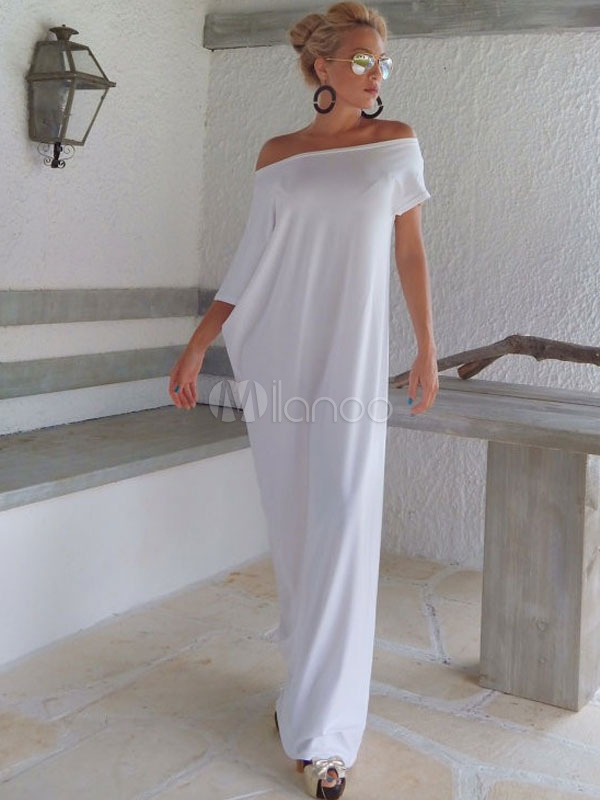 Off-The-Shoulder Maxi Dress Oversized White Cotton Dress Cheap clothes, free shipping worldwide