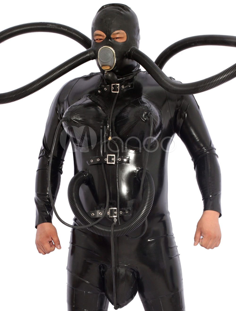 Black Diving Catsuit Latex Zentai With Inflatable Breasts Gas Mask Bag Halloween