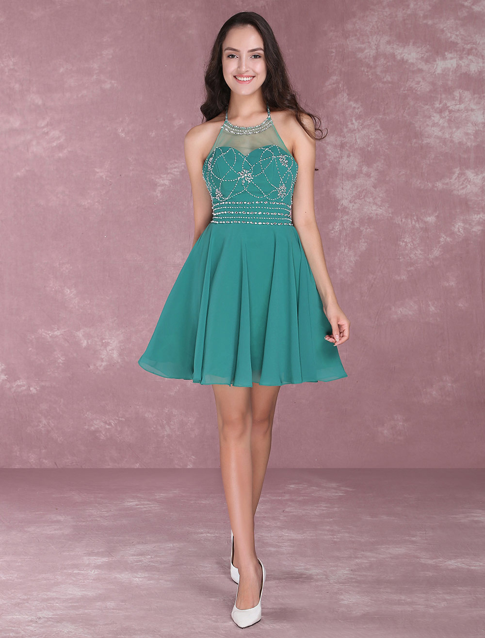Short Homecoming Dresses Halter Backless Prom Dresses Beading Chiffon Dark Green Mini Cocktail Dress