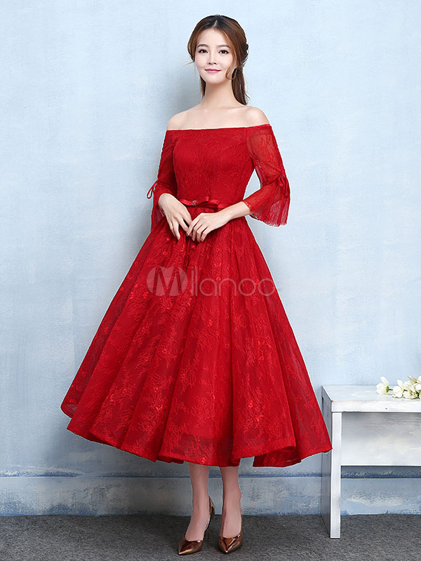 Red Prom Dresses 2018 Short Off The Shoulder Prom Dress