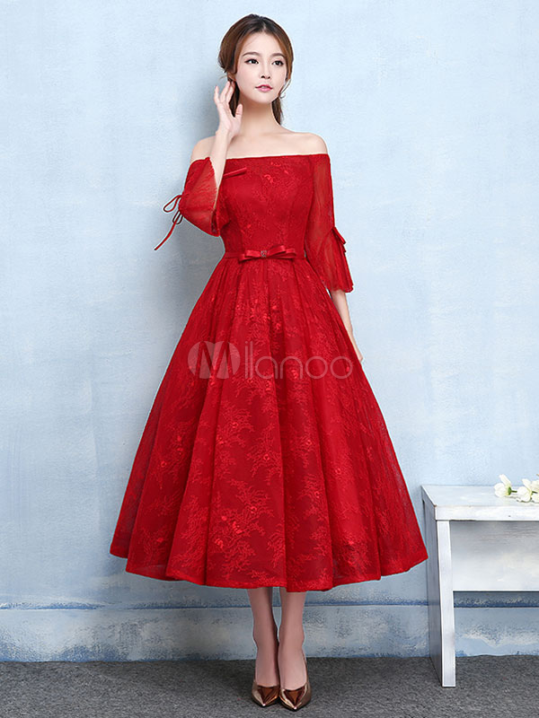 f96ed563fe9 Red Prom Dresses 2019 Short Off The Shoulder Prom Dress Lace Burgundy Bell  Sleeve A Line ...