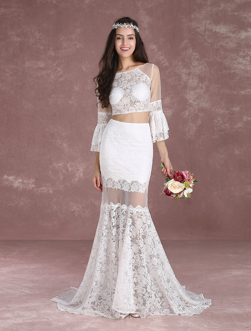 Crop top wedding dresses 2018 boho beach summer bridal for Wedding dress with illusion top