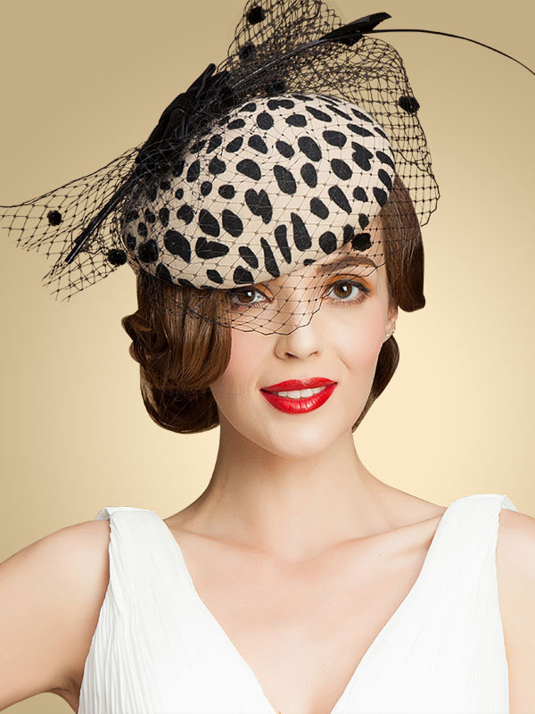 Buy Leopard Retro Costume Hat Wool Fascinator Flapper Hat Women's Costume Accessories Halloween for $36.79 in Milanoo store