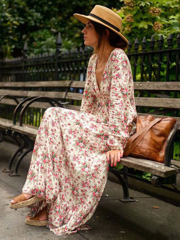 Milanoo / Pink Maxi Dress V Neck Long Sleeve Ruffle Floral Printed Slim Fit Long Dress