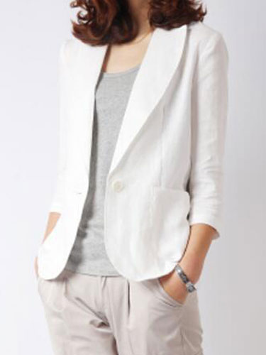 Women White Blazer Linen Spring Jacket Button Three Quarter Sleeve Lightweight Jacket Cheap clothes, free shipping worldwide