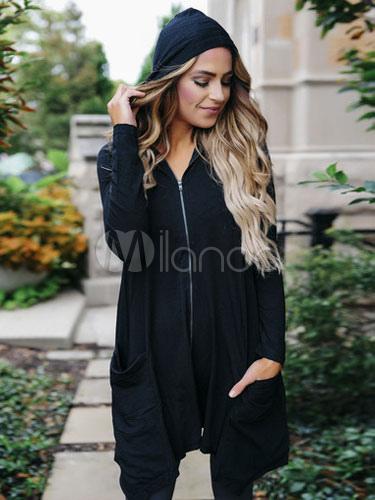 Buy Women Black Hoodie Full Zip Hoodie Hooded Longline Lightweight Jacket With Pockets for $18.00 in Milanoo store