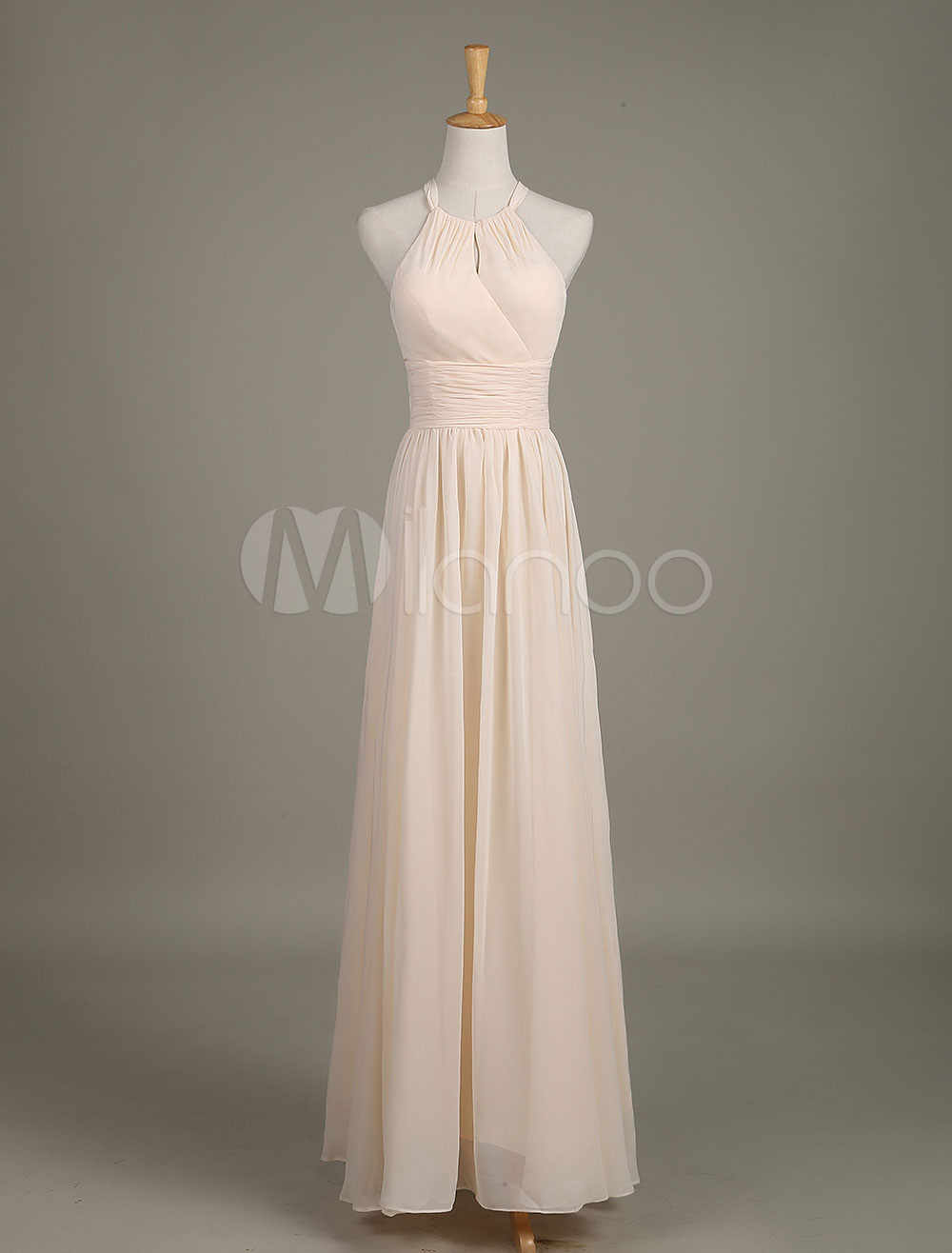 Long Bridesmaid Dress Halter Backless Nude Cut Out Ruched Chiffon A Line Wedding Party Dress