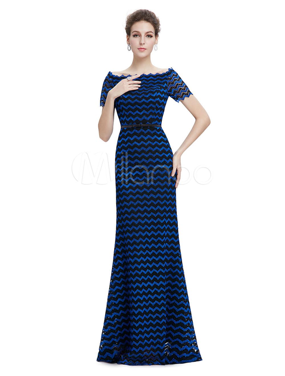Mermaid Mother Of The Bride Dress Blue Bateau Formal Evening Dress Short Sleeve Floor Length Wedding Guest Dresses