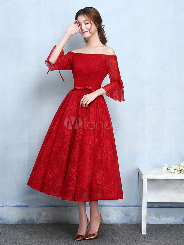 87da618cbb3 ... Red Prom Dresses 2019 Short Off The Shoulder Prom Dress Lace Burgundy  Bell Sleeve A Line ...