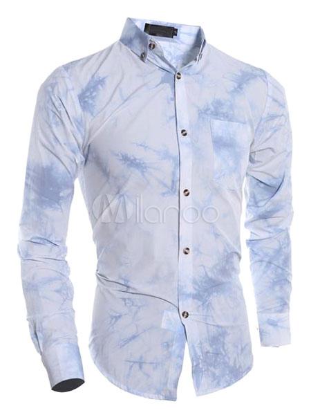 4c6970770634b Camisa de algodón manga larga estampado diseño siemple - Milanoo.com