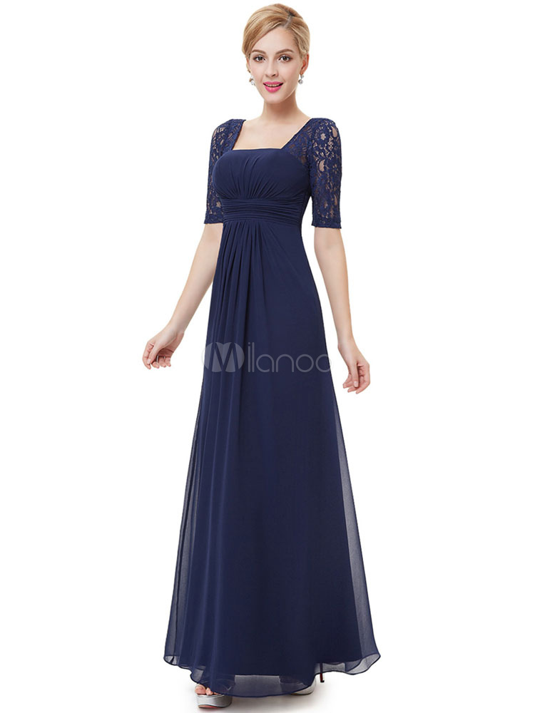 Dark Navy Mother's Dress Chiffon Lace Half Sleeve Formal Evening Dress Square Neck Backless Floor Length Wedding Guest Dresses