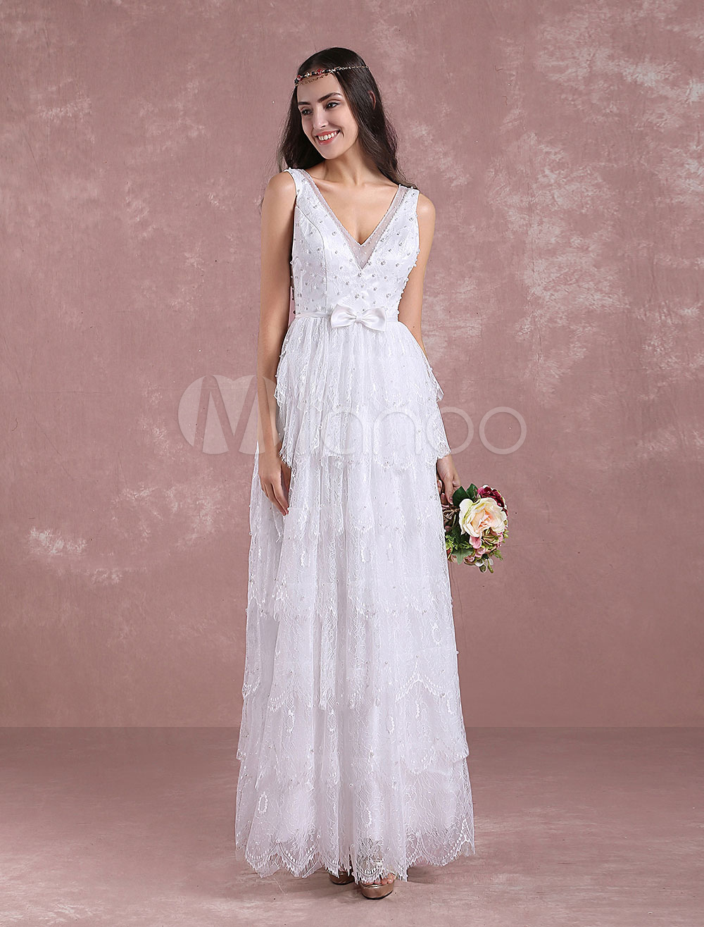 Buy Summer Wedding Dresses 2018 Boho Lace Beading Beach Bridal Dress V Neck Sleeveless Backless Tiered Floor Length Bridal Gown With Bow Sash Milanoo for $201.59 in Milanoo store