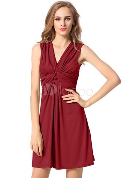 5e1e3da03 Decote em V profundo algodão Mini vestido feminino sem mangas torcida  drapeado vestido plissado-No ...