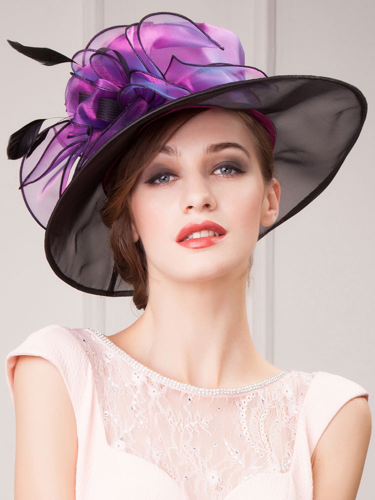 Buy Women's Vintage Hat Blue Audrey Hepburn Organza Feather Flower Retro Hat Halloween for $31.49 in Milanoo store