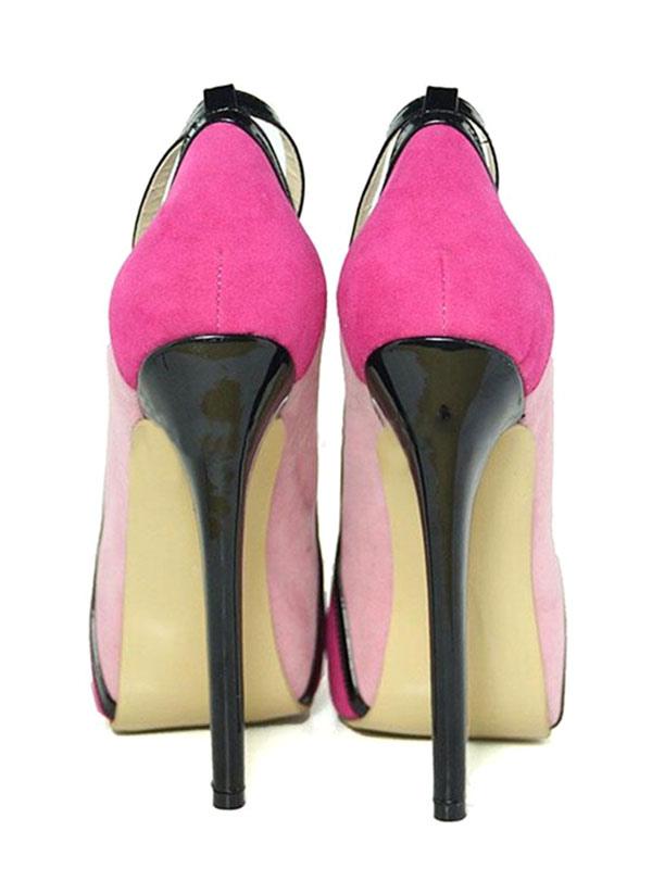 Zapatos de plataforma Piel sintética rosa de color-blocking estilo moderno L7esFwgb