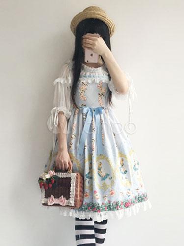 Buy Sweet Lolita Dress Alice In The Wonderland Infanta JSK Light Blue Chiffon Lolita Jumper Skirt for $57.99 in Milanoo store