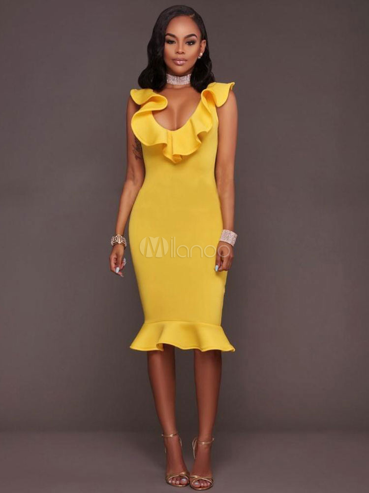 Mermaid Bodycon Dress Ruffles Sleeveless Women's Sheath Dress