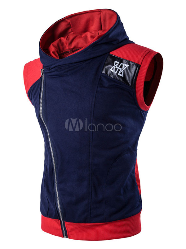 Sleeveless Men's Hoodie Oblique Zipper Color Block Casual Hoodie