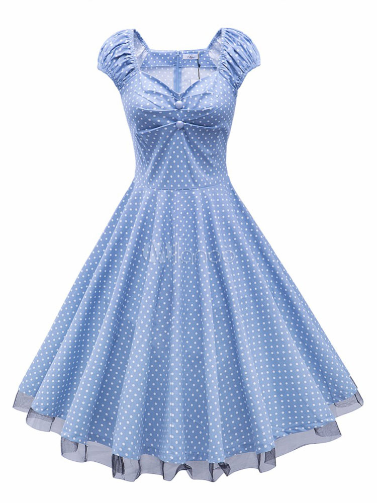 Women's Vintage Dress Polka Dot Light Blue Fit Flare Retro Ruched Dress