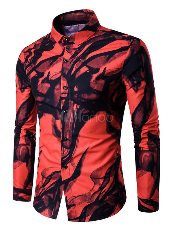 White Printed Shirts Men's Color Block Ink Painting Casual Shirt