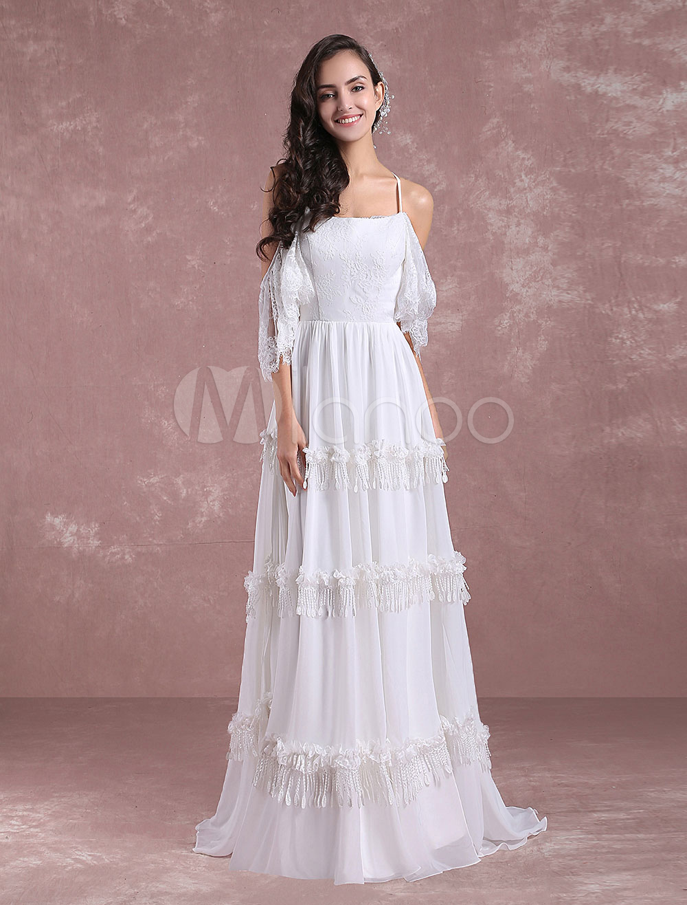 9c44650638 ... Summer Lace Chiffon Beach Bridal Gown Off The Shoulder Back Cross  Tiered. 12. 45%OFF. Color:White