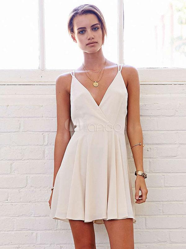 White Skater Dress Spaghetti Straps V Neck Sleeveless Backless Pleated Short Dress