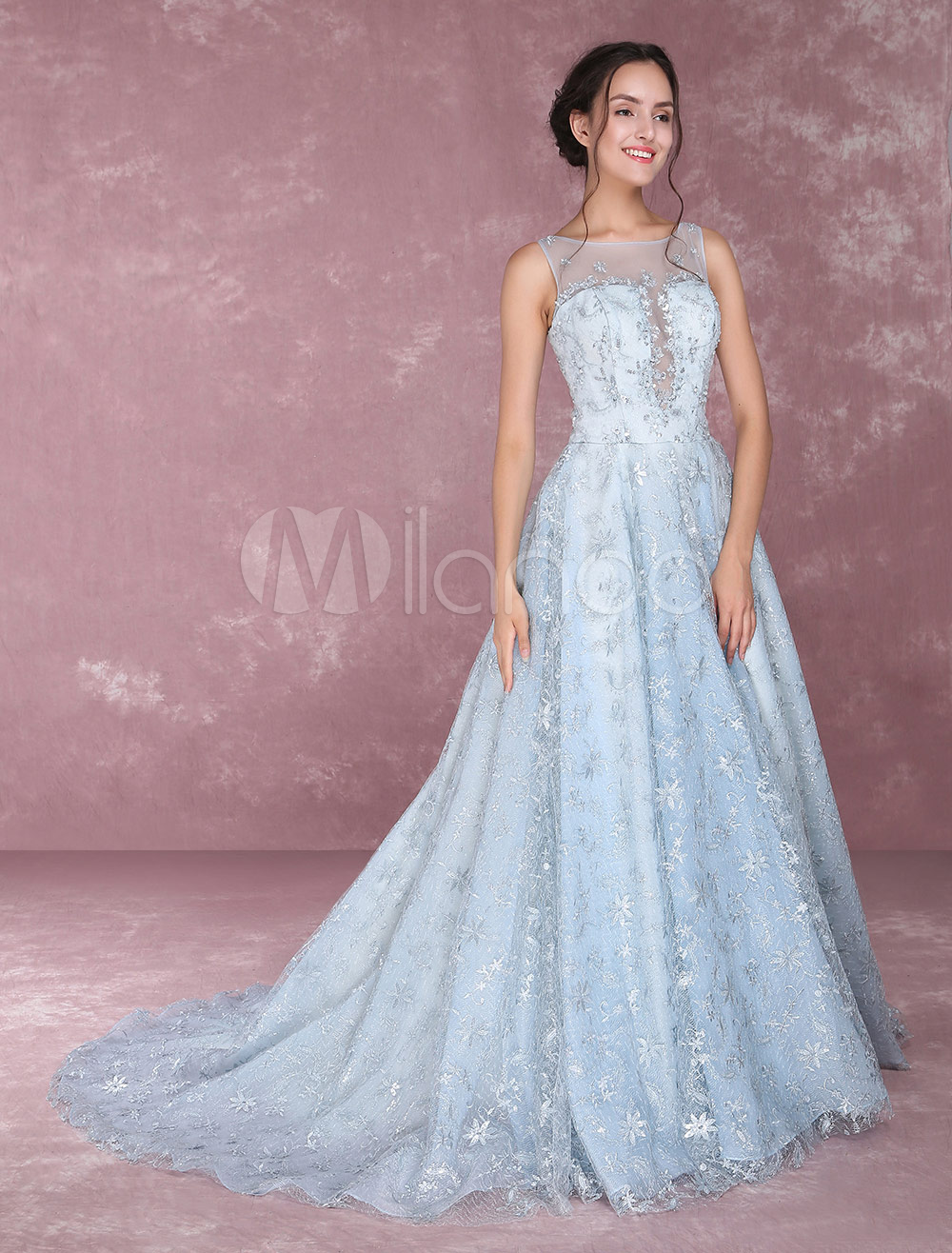 Lace Prom Dresses Illusion Sequined Embroidered Homecoming Dresses
