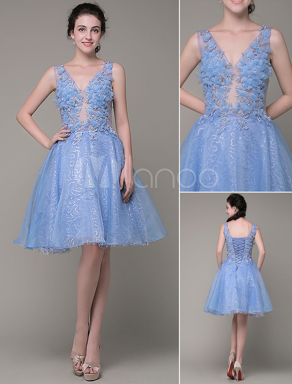 5ddb21fa935e Blue Prom Dress 2019 Short Illusion 3D Flowers Homecoming Dress Organza V  Neck Knee Length Cocktail Dress Milanoo - Milanoo.com