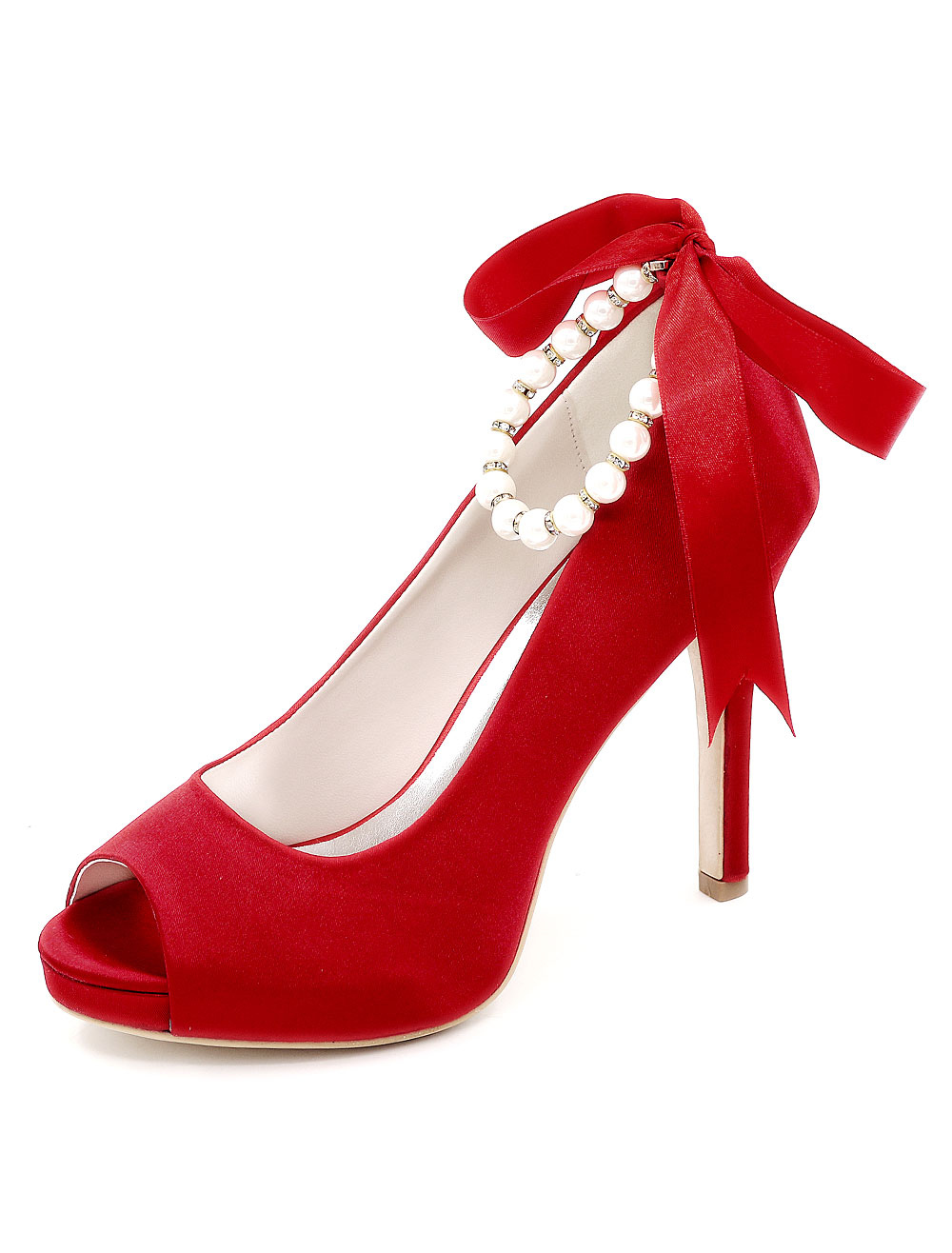 Buy Peep Wedding Shoes Platform High Heels Pearls Women's Ankle Strap Stiletto Satin Bridal Shoes for $49.39 in Milanoo store